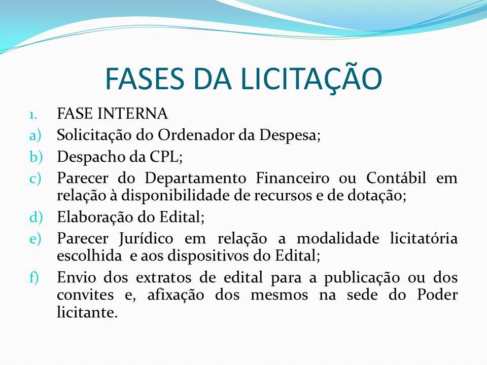 FASES DA LICITAÇÃO 1. FASE INTERNA a) Solicitação do Ordenador da Despesa; b) Despacho da CPL; c) Parecer do Departamento Financeiro ou Contábil em re
