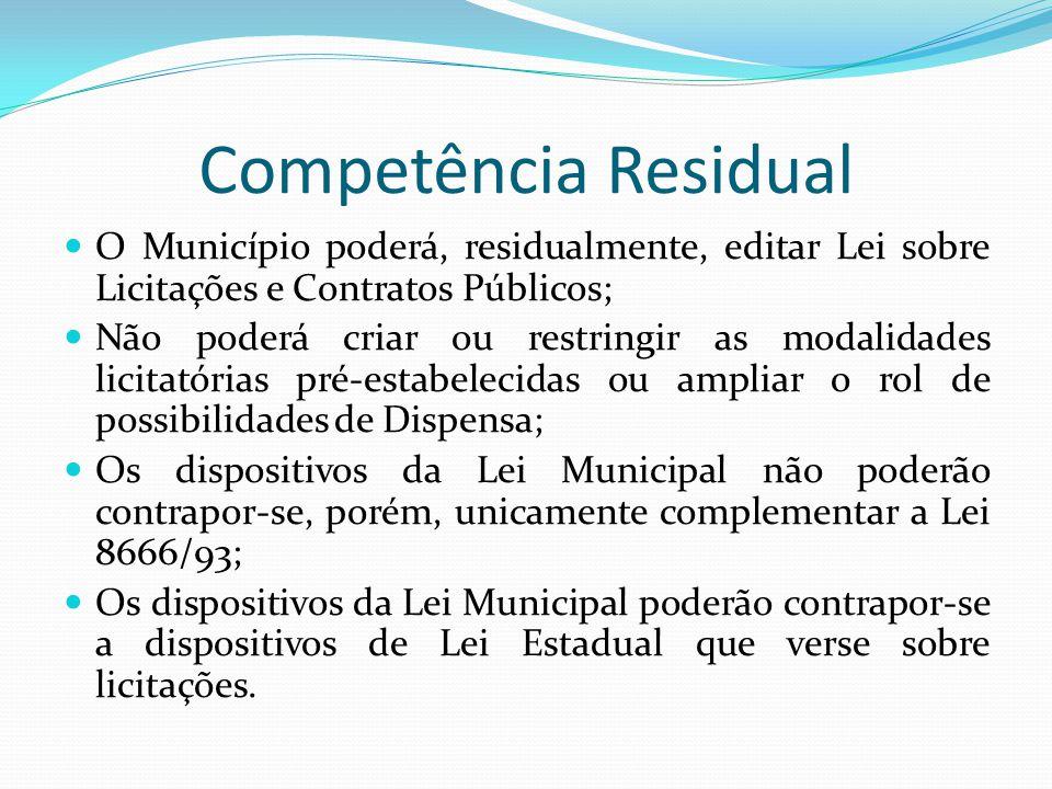 Competência Residual O Município poderá, residualmente, editar Lei sobre Licitações e Contratos Públicos; Não poderá criar ou restringir as modalidade