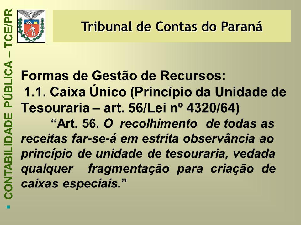 Tribunal de Contas do Paraná  CONTABILIDADE PÚBLICA – TCE/PR Formas de Gestão de Recursos: 1.1. Caixa Único (Princípio da Unidade de Tesouraria – art