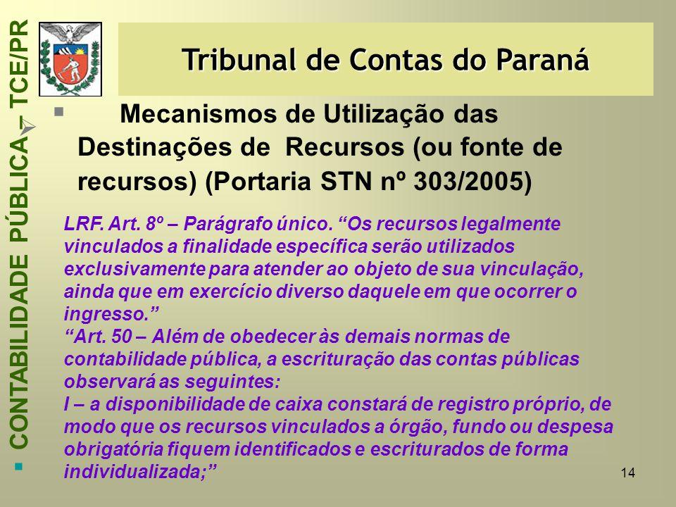 14   Mecanismos de Utilização das Destinações de Recursos (ou fonte de recursos) (Portaria STN nº 303/2005) Tribunal de Contas do Paraná  CONTABILI