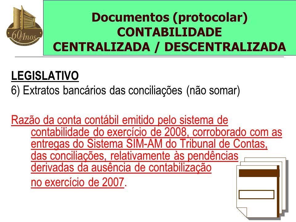 LEGISLATIVO 6) Extratos bancários das conciliações (não somar) Razão da conta contábil emitido pelo sistema de contabilidade do exercício de 2008, cor