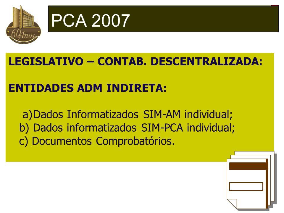 PCA 2007 LEGISLATIVO – CONTAB. DESCENTRALIZADA: ENTIDADES ADM INDIRETA: a)Dados Informatizados SIM-AM individual; b) Dados informatizados SIM-PCA indi