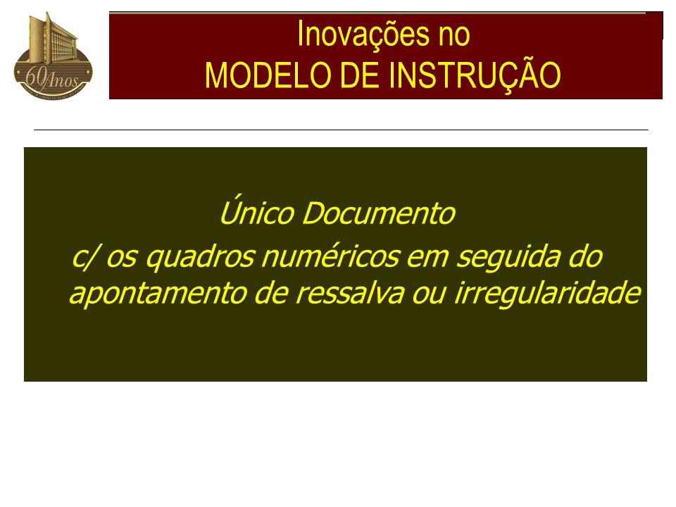 Inovações no MODELO DE INSTRUÇÃO Único Documento c/ os quadros numéricos em seguida do apontamento de ressalva ou irregularidade