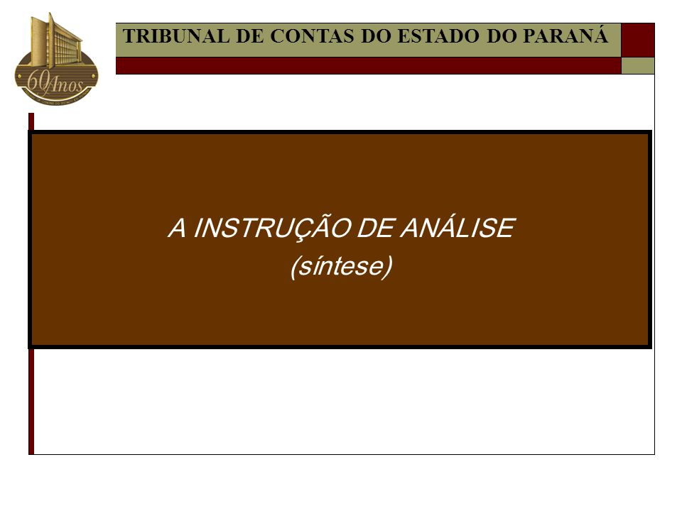 A INSTRUÇÃO DE ANÁLISE (síntese) TRIBUNAL DE CONTAS DO ESTADO DO PARANÁ