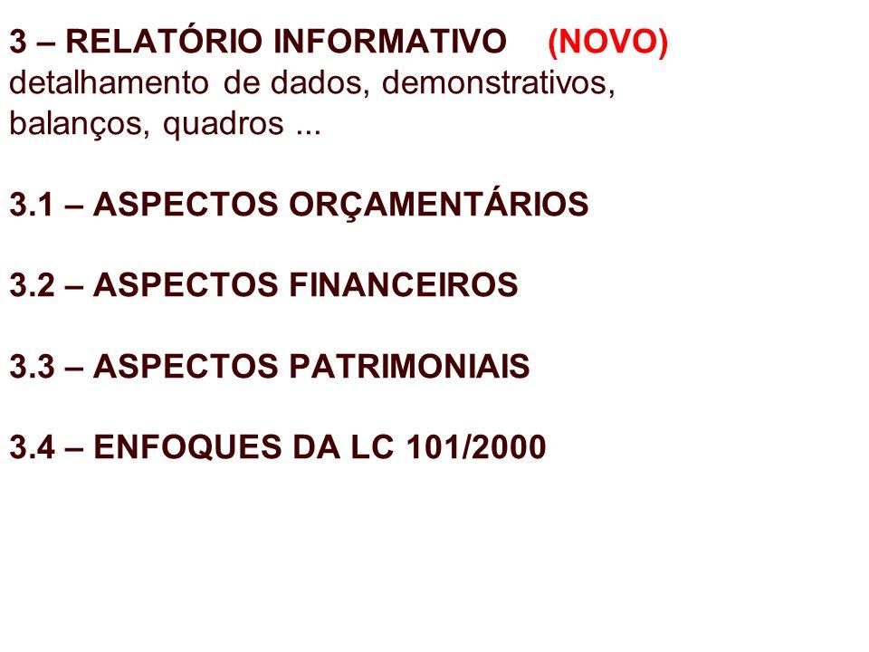 3 – RELATÓRIO INFORMATIVO (NOVO) detalhamento de dados, demonstrativos, balanços, quadros... 3.1 – ASPECTOS ORÇAMENTÁRIOS 3.2 – ASPECTOS FINANCEIROS 3