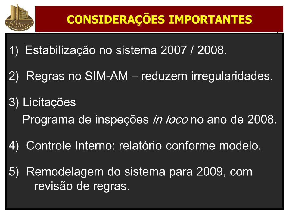 1) Estabilização no sistema 2007 / 2008. 2) Regras no SIM-AM – reduzem irregularidades. 3) Licitações Programa de inspeções in loco no ano de 2008. 4)