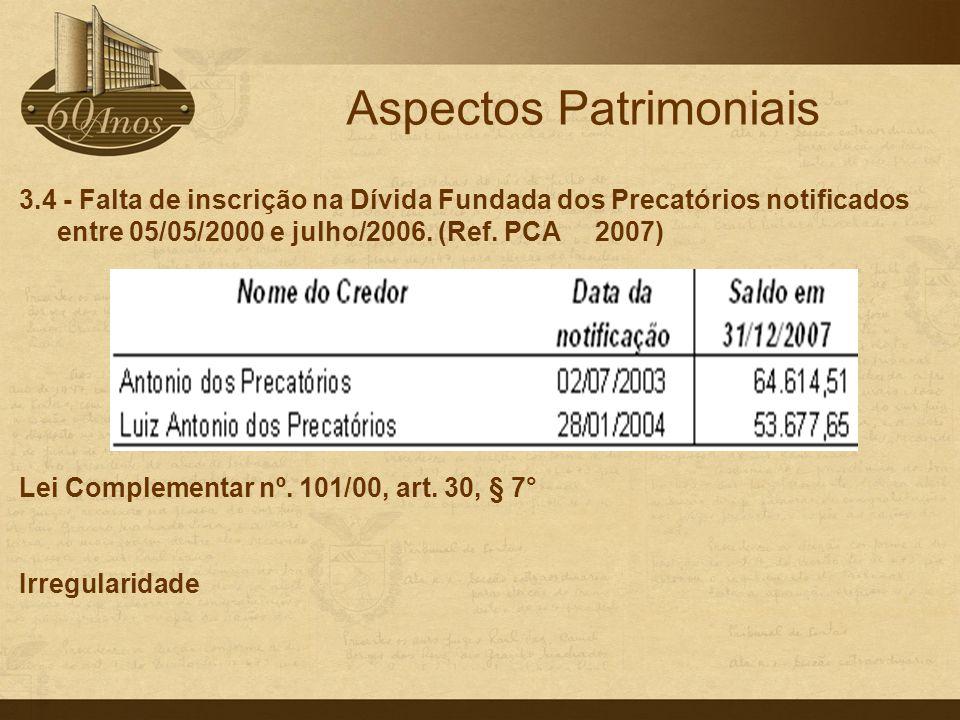 3.4 - Falta de inscrição na Dívida Fundada dos Precatórios notificados entre 05/05/2000 e julho/2006. (Ref. PCA 2007) Lei Complementar nº. 101/00, art