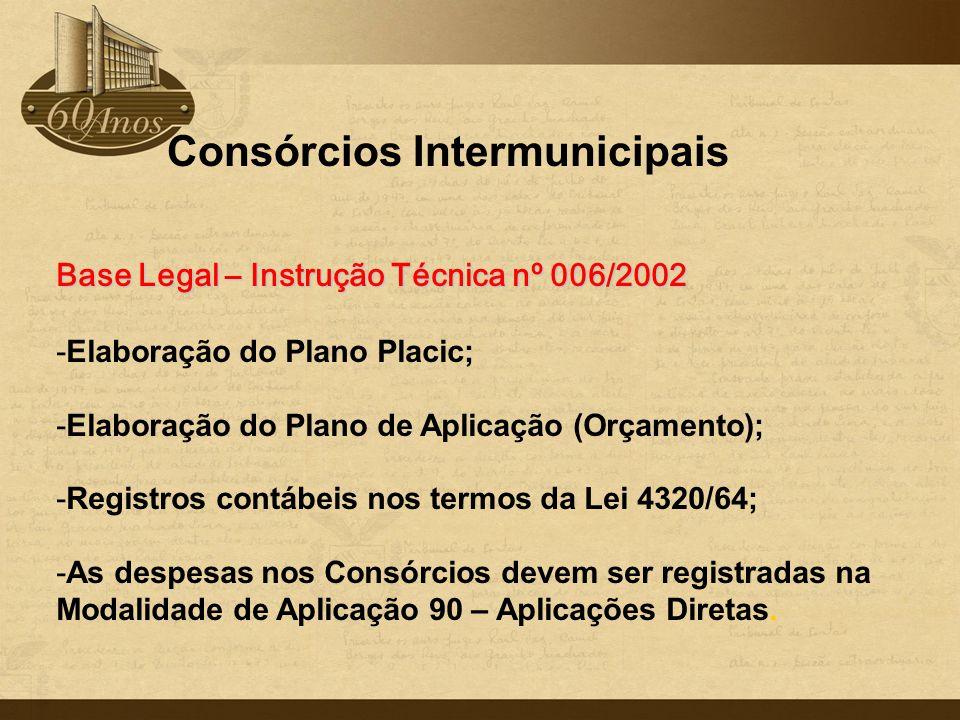 Consórcios Intermunicipais Base Legal – Instrução Técnica nº 006/2002 -Elaboração do Plano Placic; -Elaboração do Plano de Aplicação (Orçamento); -Reg