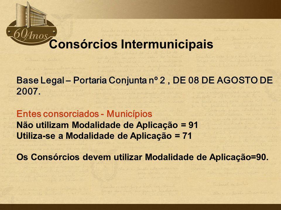 Consórcios Intermunicipais Base Legal – Portaria Conjunta nº2, DE 08 DE AGOSTO DE 2007. Base Legal – Portaria Conjunta nº 2, DE 08 DE AGOSTO DE 2007.