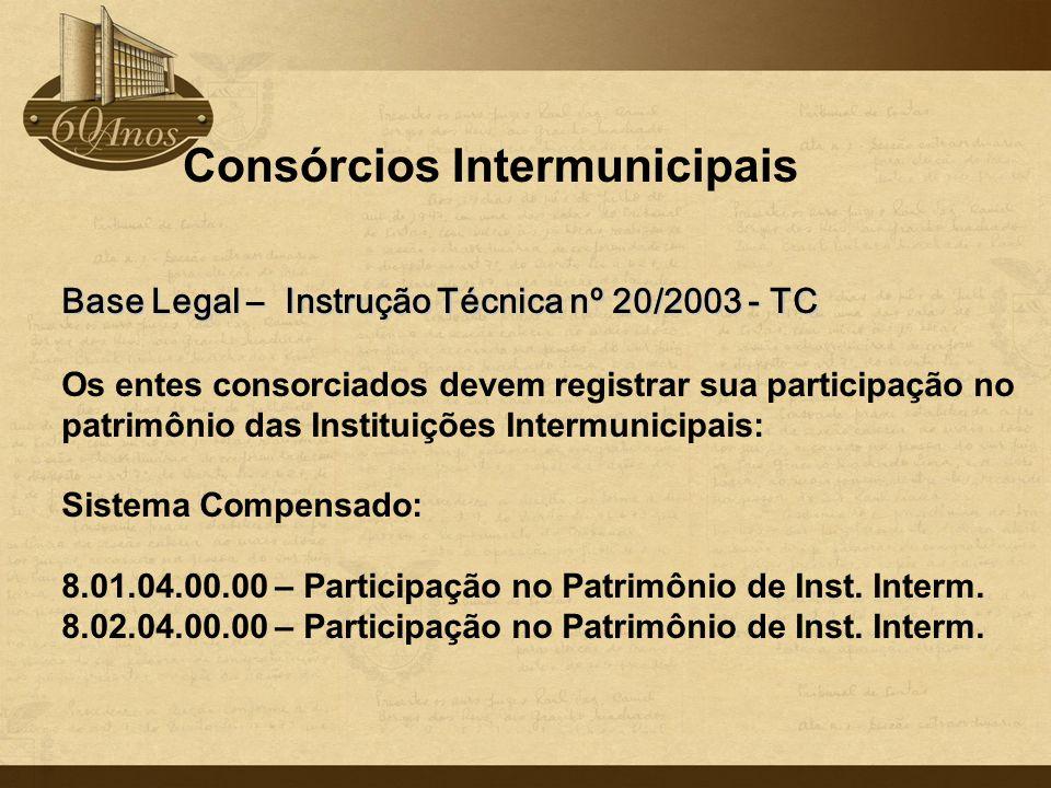 Consórcios Intermunicipais Base Legal – Instrução Técnica nº 20/2003 - TC Os entes consorciados devem registrar sua participação no patrimônio das Ins