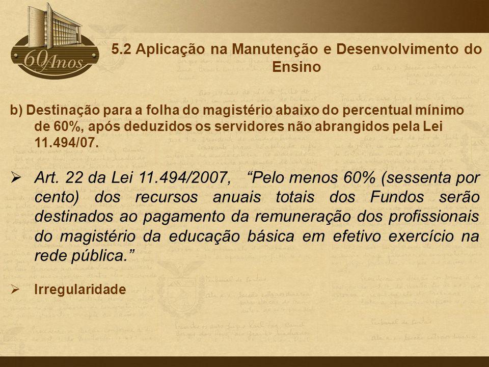b) Destinação para a folha do magistério abaixo do percentual mínimo de 60%, após deduzidos os servidores não abrangidos pela Lei 11.494/07.  Art. 22