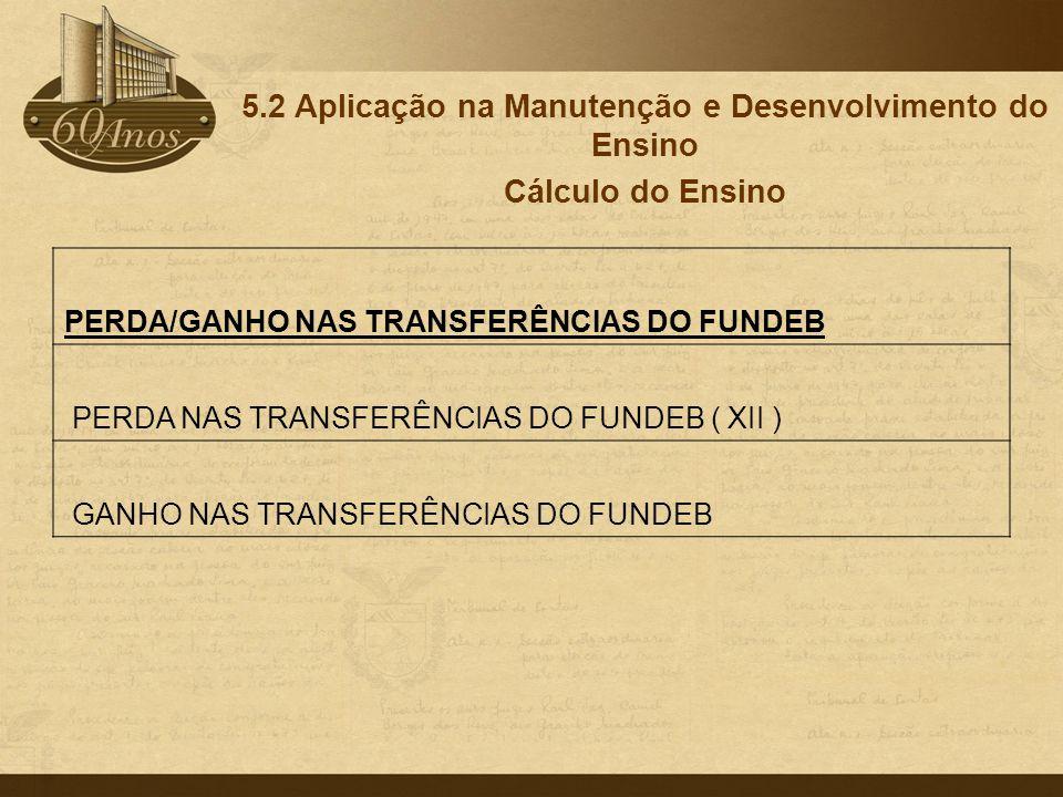 5.2 Aplicação na Manutenção e Desenvolvimento do Ensino Cálculo do Ensino PERDA/GANHO NAS TRANSFERÊNCIAS DO FUNDEB PERDA NAS TRANSFERÊNCIAS DO FUNDEB