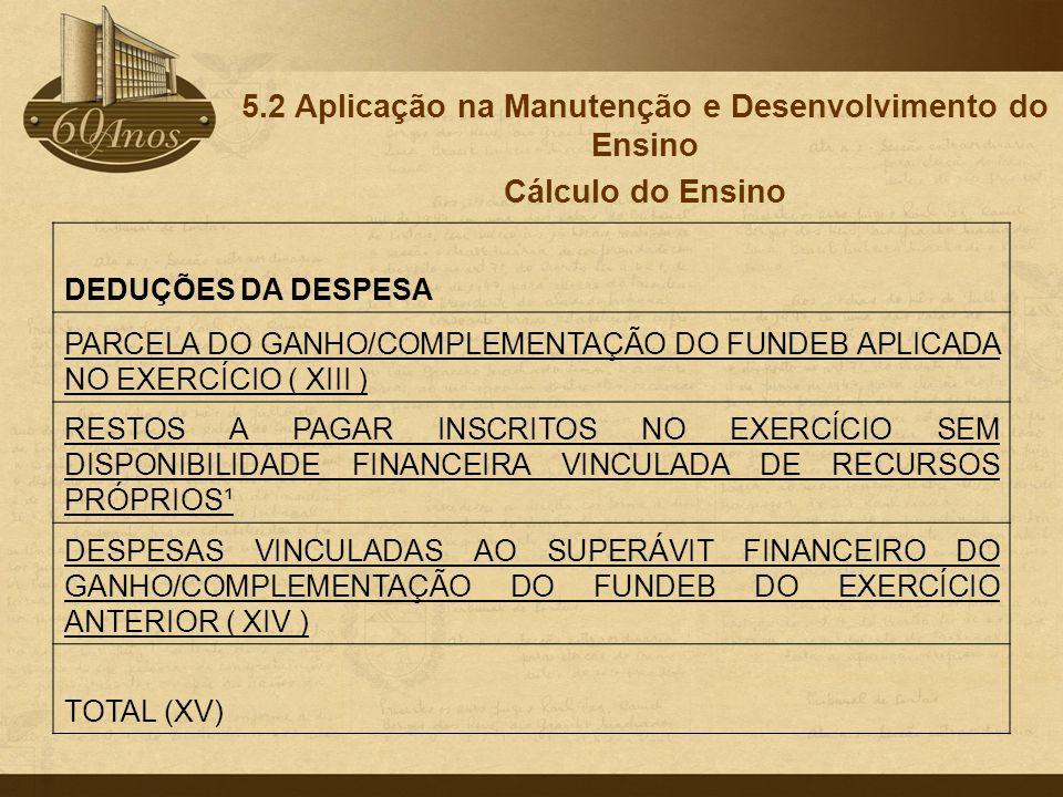 5.2 Aplicação na Manutenção e Desenvolvimento do Ensino Cálculo do Ensino DEDUÇÕES DA DESPESA PARCELA DO GANHO/COMPLEMENTAÇÃO DO FUNDEB APLICADA NO EX