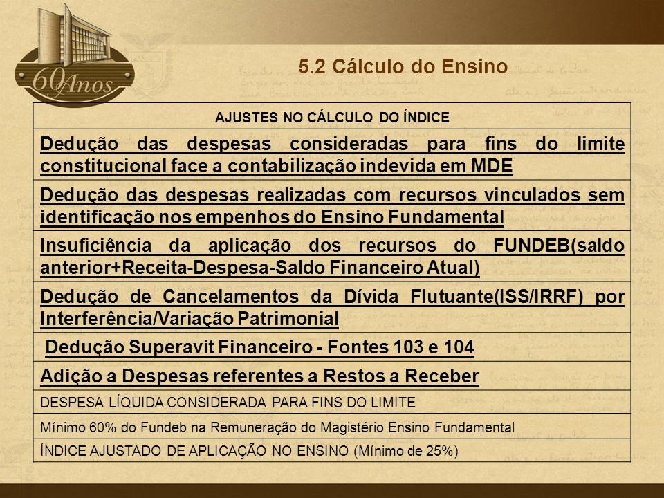 5.2 Cálculo do Ensino AJUSTES NO CÁLCULO DO ÍNDICE Dedução das despesas consideradas para fins do limite constitucional face a contabilização indevida