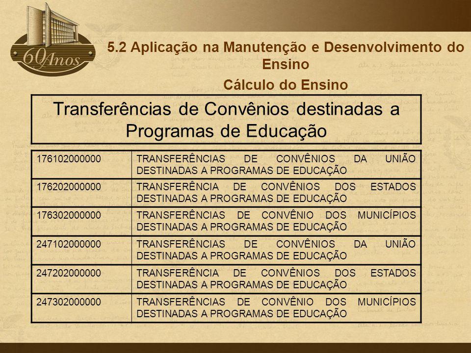 5.2 Aplicação na Manutenção e Desenvolvimento do Ensino Cálculo do Ensino 176102000000TRANSFERÊNCIAS DE CONVÊNIOS DA UNIÃO DESTINADAS A PROGRAMAS DE E