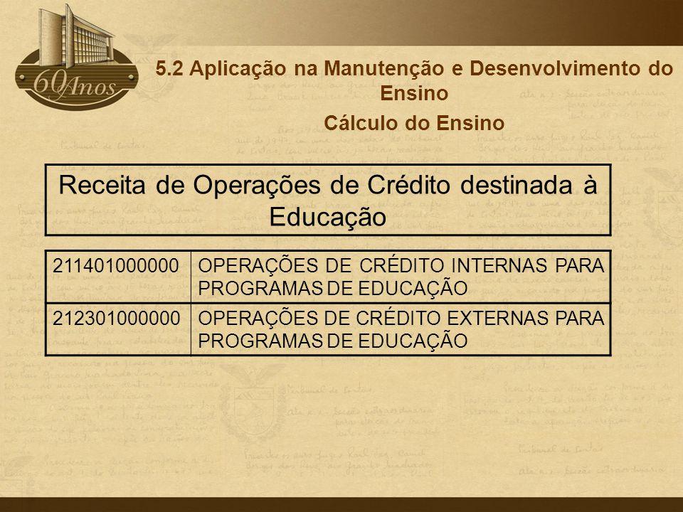 5.2 Aplicação na Manutenção e Desenvolvimento do Ensino Cálculo do Ensino 211401000000OPERAÇÕES DE CRÉDITO INTERNAS PARA PROGRAMAS DE EDUCAÇÃO 2123010