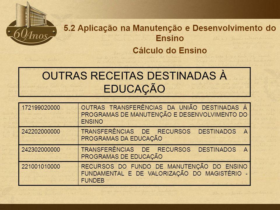 5.2 Aplicação na Manutenção e Desenvolvimento do Ensino Cálculo do Ensino 172199020000OUTRAS TRANSFERÊNCIAS DA UNIÃO DESTINADAS À PROGRAMAS DE MANUTEN