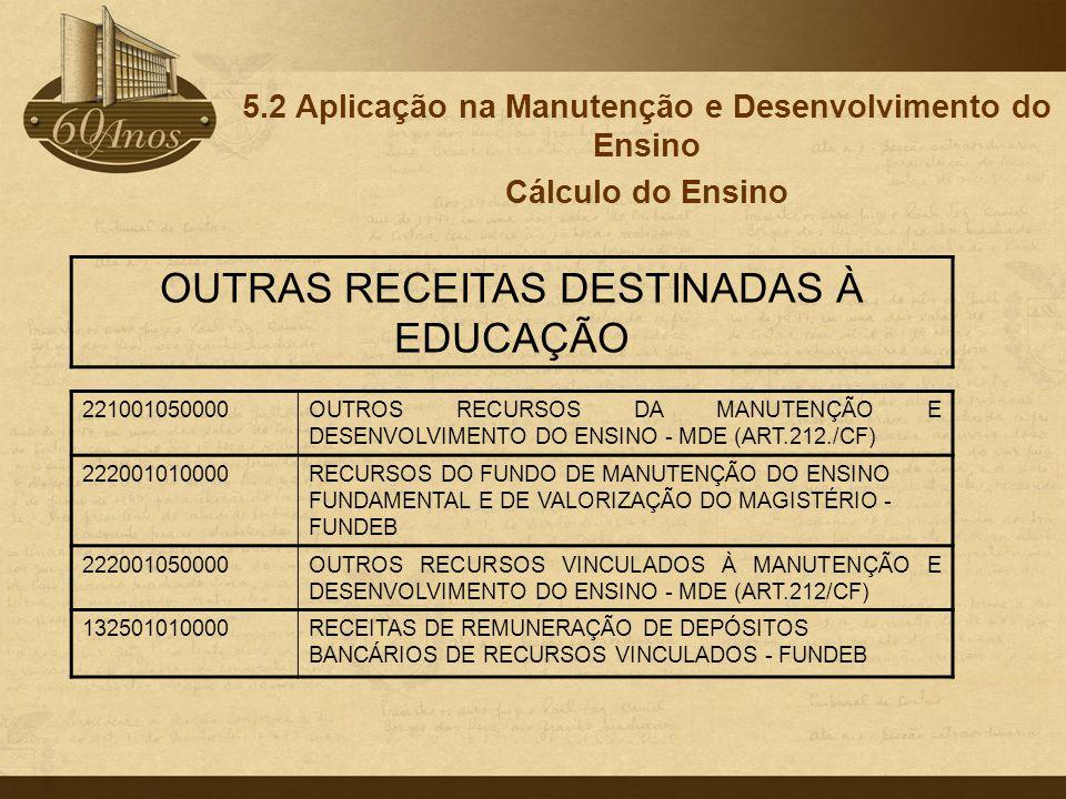 5.2 Aplicação na Manutenção e Desenvolvimento do Ensino Cálculo do Ensino 221001050000OUTROS RECURSOS DA MANUTENÇÃO E DESENVOLVIMENTO DO ENSINO - MDE