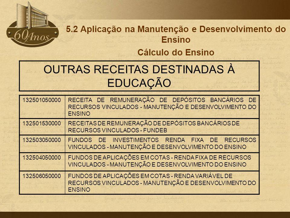 5.2 Aplicação na Manutenção e Desenvolvimento do Ensino Cálculo do Ensino 132501050000RECEITA DE REMUNERAÇÃO DE DEPÓSITOS BANCÁRIOS DE RECURSOS VINCUL