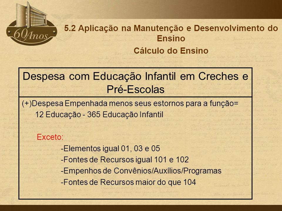 5.2 Aplicação na Manutenção e Desenvolvimento do Ensino Cálculo do Ensino Despesa com Educação Infantil em Creches e Pré-Escolas (+)Despesa Empenhada