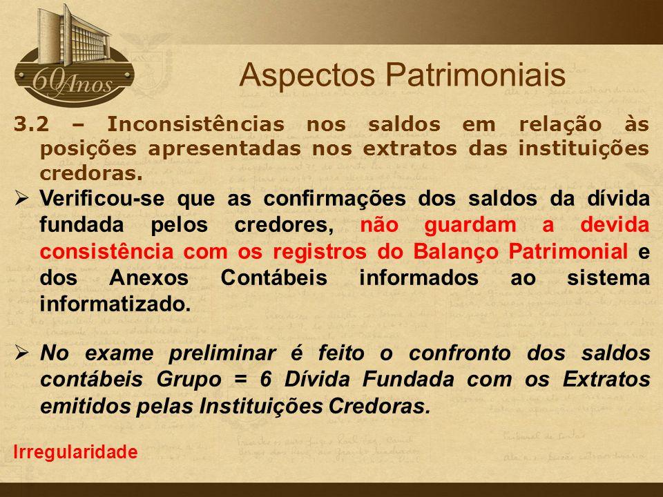 3.2 – Inconsistências nos saldos em relação às posições apresentadas nos extratos das instituições credoras.