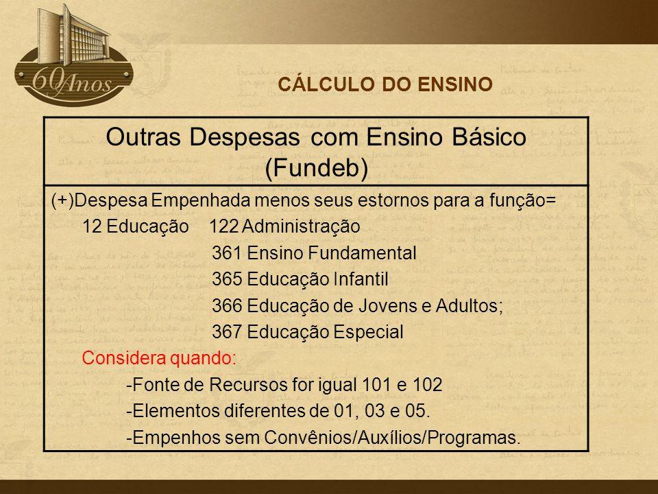 CÁLCULO DO ENSINO Outras Despesas com Ensino Básico (Fundeb) (+)Despesa Empenhada menos seus estornos para a função= 12 Educação 122 Administração 361