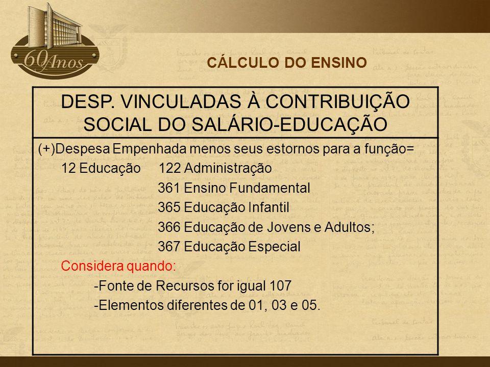 CÁLCULO DO ENSINO DESP. VINCULADAS À CONTRIBUIÇÃO SOCIAL DO SALÁRIO-EDUCAÇÃO (+)Despesa Empenhada menos seus estornos para a função= 12 Educação 122 A