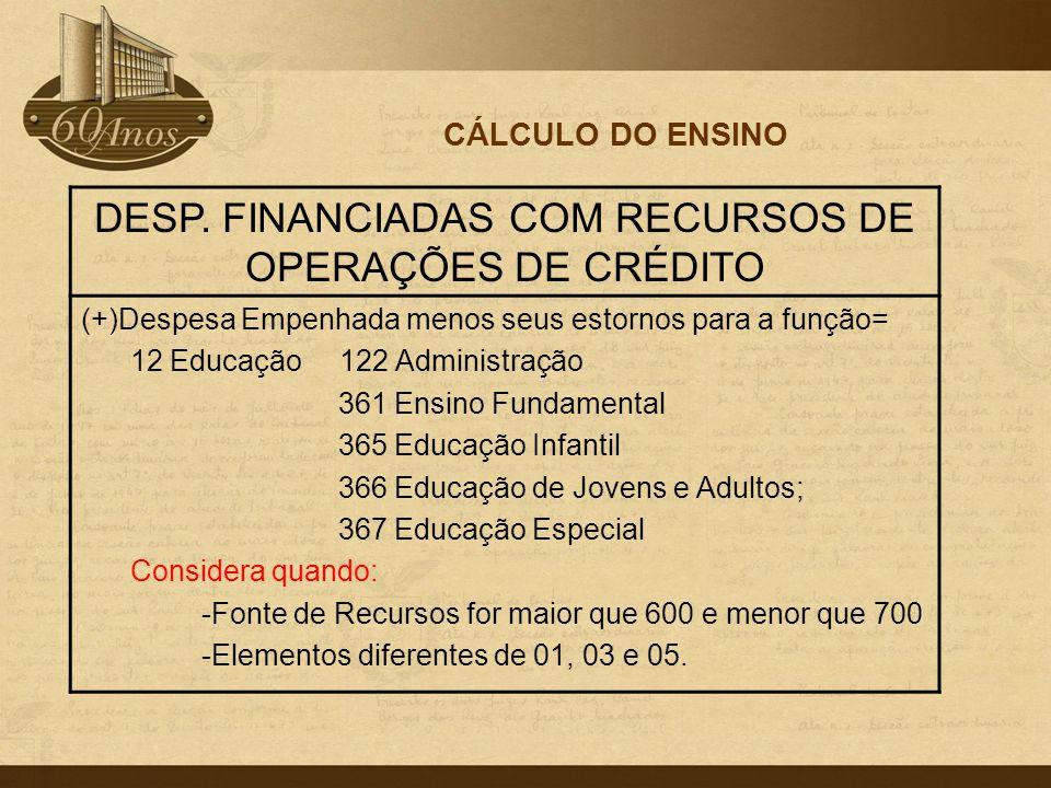 CÁLCULO DO ENSINO DESP. FINANCIADAS COM RECURSOS DE OPERAÇÕES DE CRÉDITO (+)Despesa Empenhada menos seus estornos para a função= 12 Educação 122 Admin