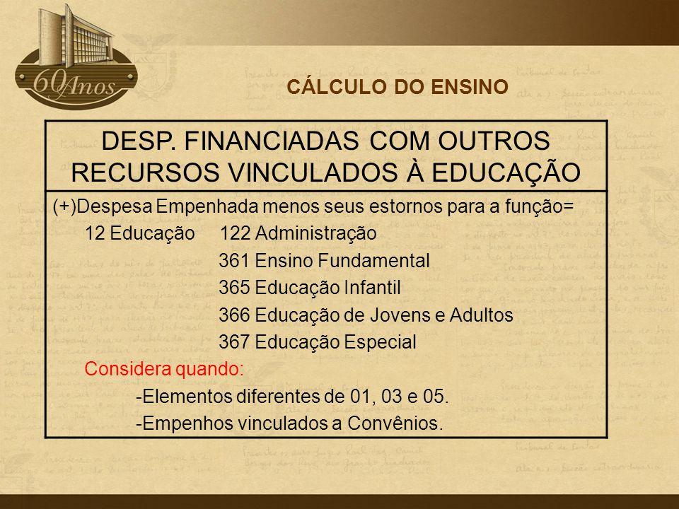 CÁLCULO DO ENSINO DESP. FINANCIADAS COM OUTROS RECURSOS VINCULADOS À EDUCAÇÃO (+)Despesa Empenhada menos seus estornos para a função= 12 Educação 122
