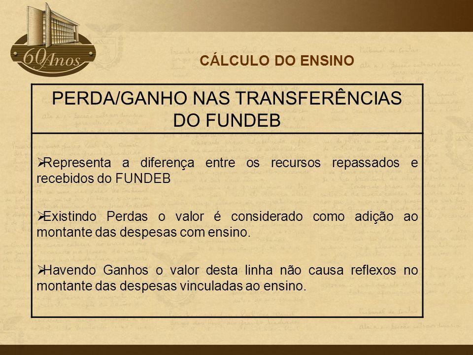 CÁLCULO DO ENSINO PERDA/GANHO NAS TRANSFERÊNCIAS DO FUNDEB  Representa a diferença entre os recursos repassados e recebidos do FUNDEB  Existindo Per