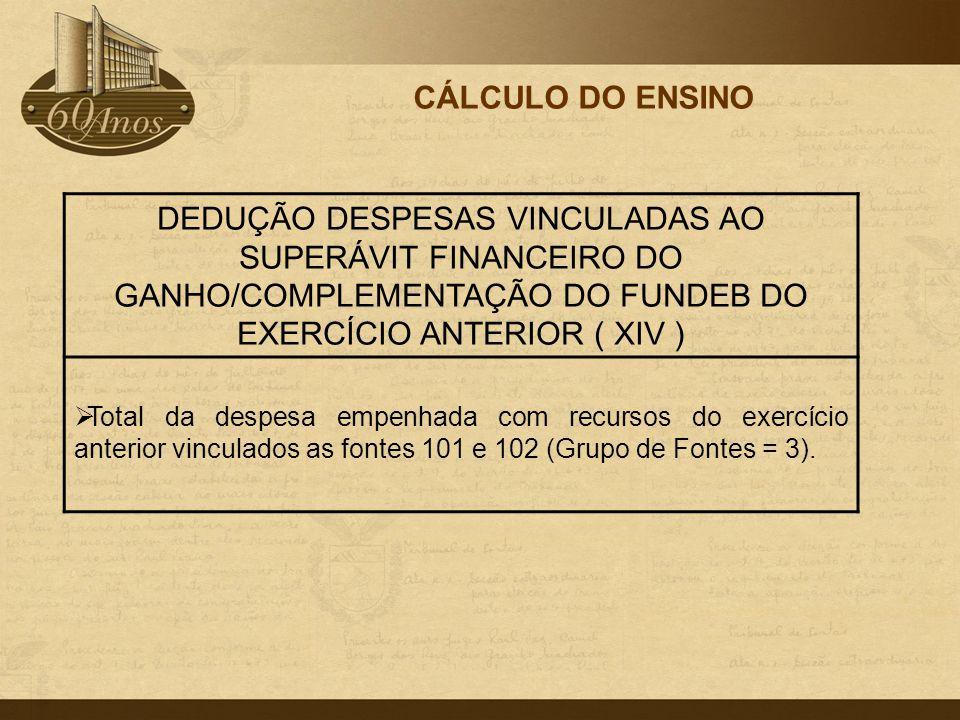 CÁLCULO DO ENSINO DEDUÇÃO DESPESAS VINCULADAS AO SUPERÁVIT FINANCEIRO DO GANHO/COMPLEMENTAÇÃO DO FUNDEB DO EXERCÍCIO ANTERIOR ( XIV )  Total da despe
