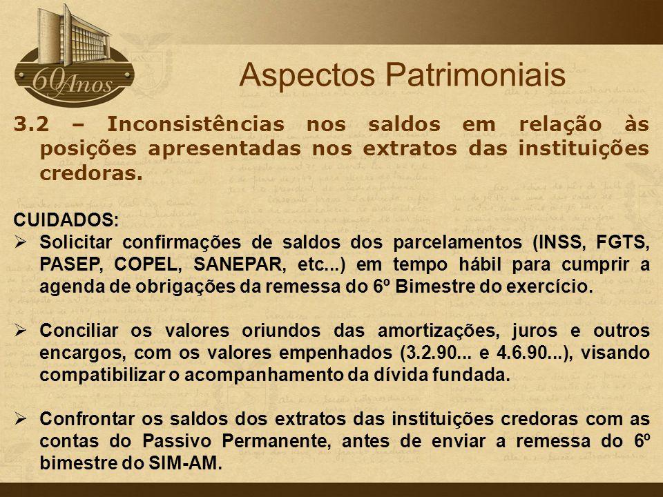 3.2 – Inconsistências nos saldos em relação às posições apresentadas nos extratos das instituições credoras. CUIDADOS:  Solicitar confirmações de sal