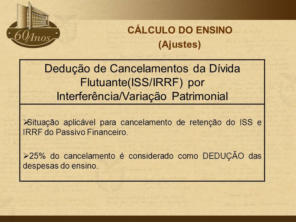 CÁLCULO DO ENSINO (Ajustes) Dedução de Cancelamentos da Dívida Flutuante(ISS/IRRF) por Interferência/Variação Patrimonial  Situação aplicável para ca