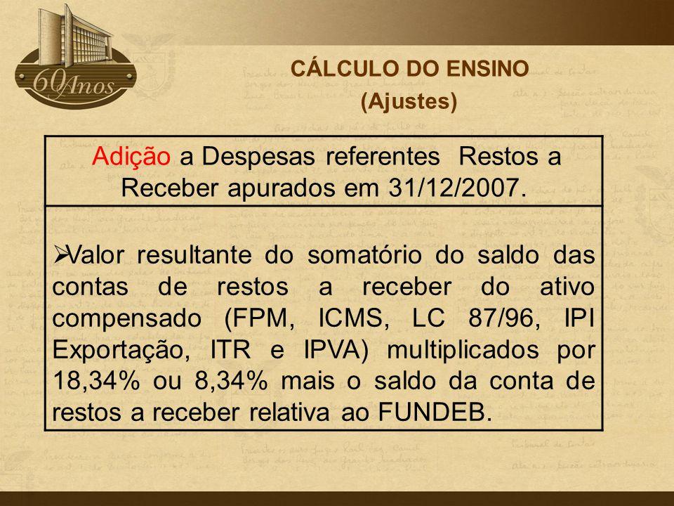 CÁLCULO DO ENSINO (Ajustes) Adição a Despesas referentes Restos a Receber apurados em 31/12/2007.  Valor resultante do somatório do saldo das contas