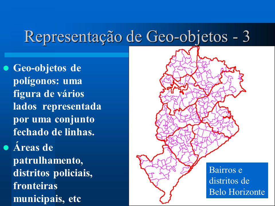 Representação de Geo-objetos - 3 Geo-objetos de polígonos: uma figura de vários lados representada por uma conjunto fechado de linhas. Áreas de patrul