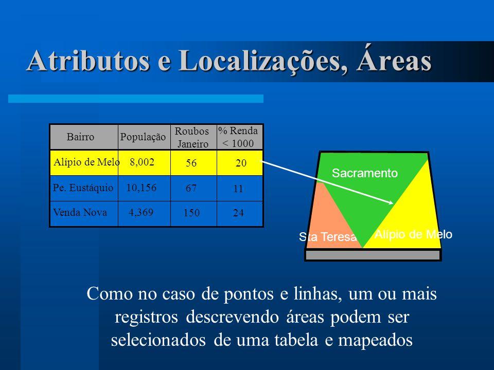 Como no caso de pontos e linhas, um ou mais registros descrevendo áreas podem ser selecionados de uma tabela e mapeados Alípio de Melo8,002 56 20 Bair