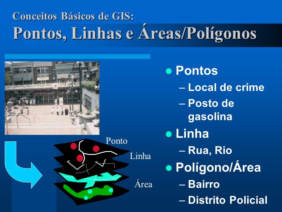Conceitos Básicos de GIS: Pontos, Linhas e Áreas/Polígonos Pontos –Local de crime –Posto de gasolina Linha –Rua, Rio Polígono/Área –Bairro –Distrito P