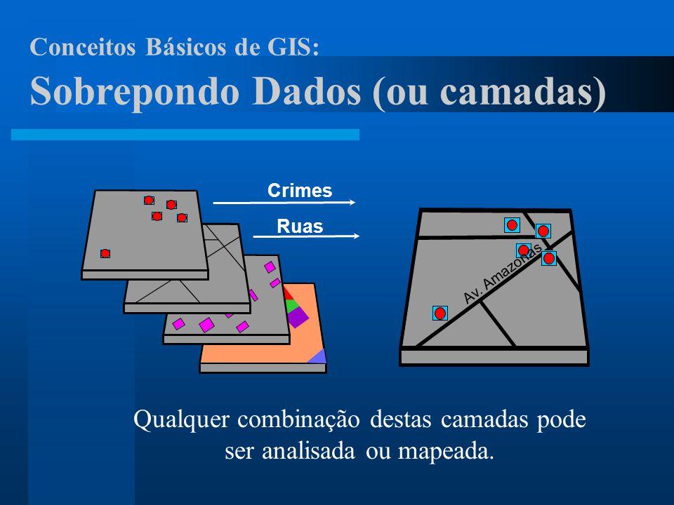 Av. Amazonas Qualquer combinação destas camadas pode ser analisada ou mapeada. Ruas Crimes Conceitos Básicos de GIS: Sobrepondo Dados (ou camadas)