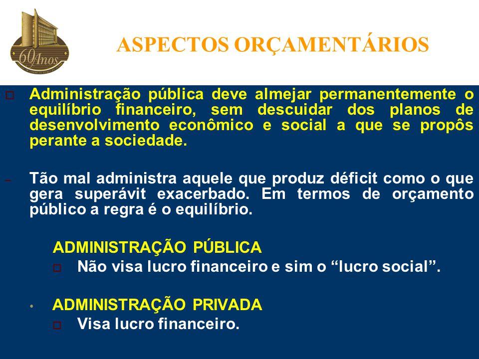  Administração pública deve almejar permanentemente o equilíbrio financeiro, sem descuidar dos planos de desenvolvimento econômico e social a que se propôs perante a sociedade.