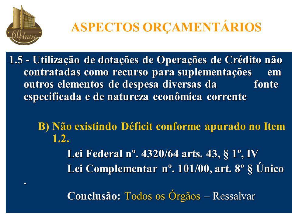 1.5 - Utilização de dotações de Operações de Crédito não contratadas como recurso para suplementações em outros elementos de despesa diversas da fonte especificada e de natureza econômica corrente B) Não existindo Déficit conforme apurado no Item 1.2.