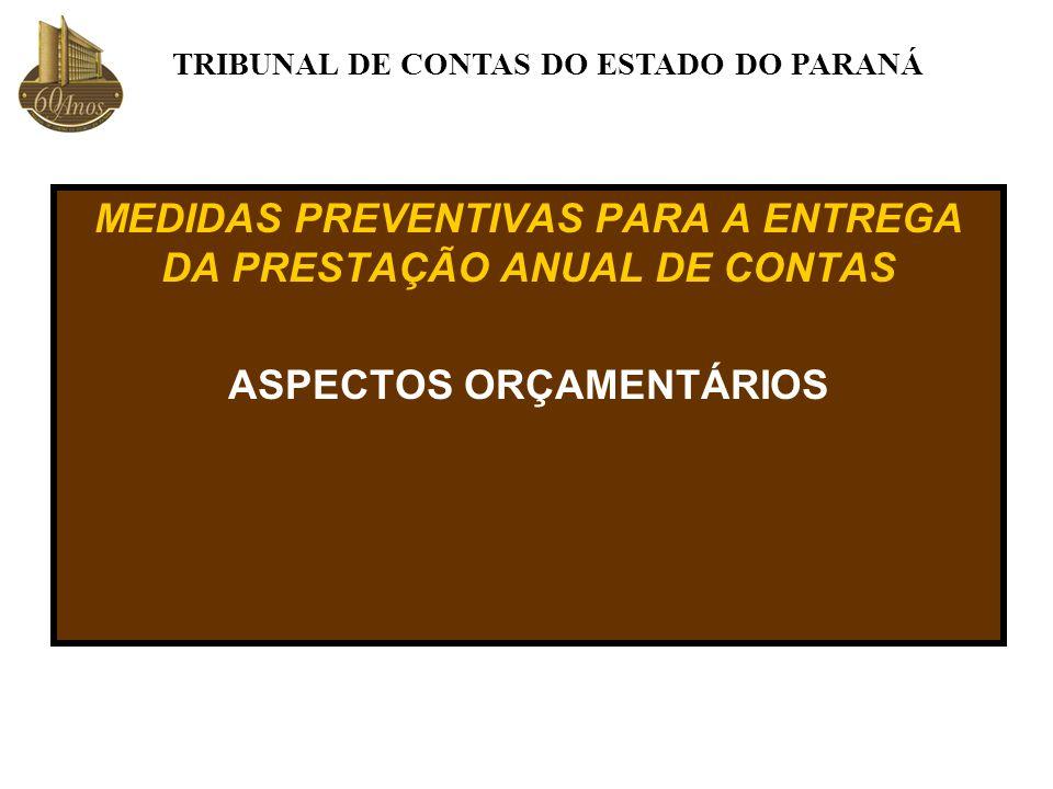 MEDIDAS PREVENTIVAS PARA A ENTREGA DA PRESTAÇÃO ANUAL DE CONTAS ASPECTOS ORÇAMENTÁRIOS TRIBUNAL DE CONTAS DO ESTADO DO PARANÁ