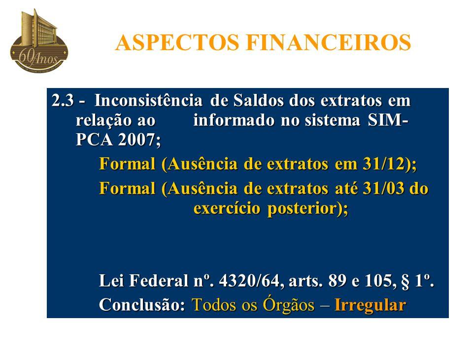 ASPECTOS FINANCEIROS 2.3 - Inconsistência de Saldos dos extratos em relação ao informado no sistema SIM- PCA 2007; Formal (Ausência de extratos em 31/12); Formal (Ausência de extratos até 31/03 do exercício posterior); Lei Federal nº.