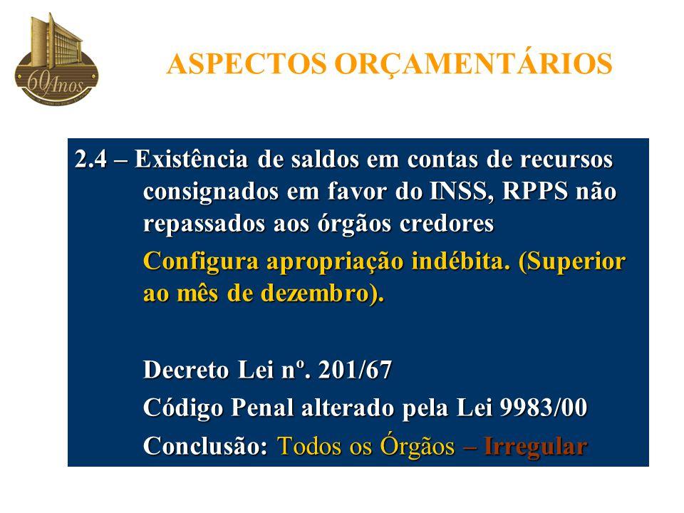 ASPECTOS ORÇAMENTÁRIOS 2.4 – Existência de saldos em contas de recursos consignados em favor do INSS, RPPS não repassados aos órgãos credores Configura apropriação indébita.