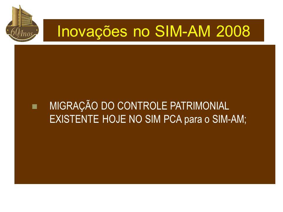 MIGRAÇÃO DO CONTROLE PATRIMONIAL EXISTENTE HOJE NO SIM PCA para o SIM-AM; Inovações no SIM-AM 2008