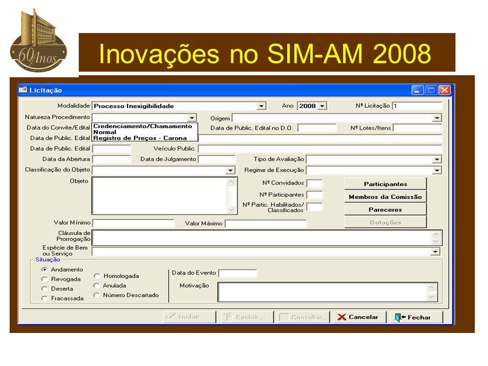 Inovações no SIM-AM 2008
