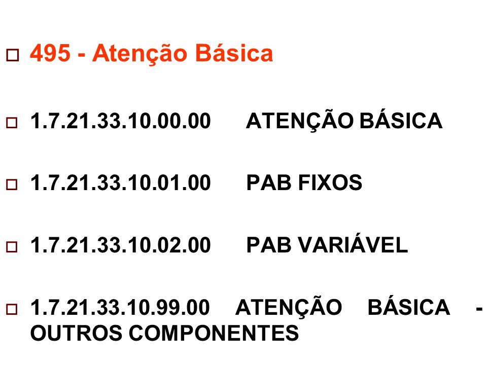  495 - Atenção Básica  1.7.21.33.10.00.00 ATENÇÃO BÁSICA  1.7.21.33.10.01.00 PAB FIXOS  1.7.21.33.10.02.00 PAB VARIÁVEL  1.7.21.33.10.99.00 ATENÇÃO BÁSICA - OUTROS COMPONENTES