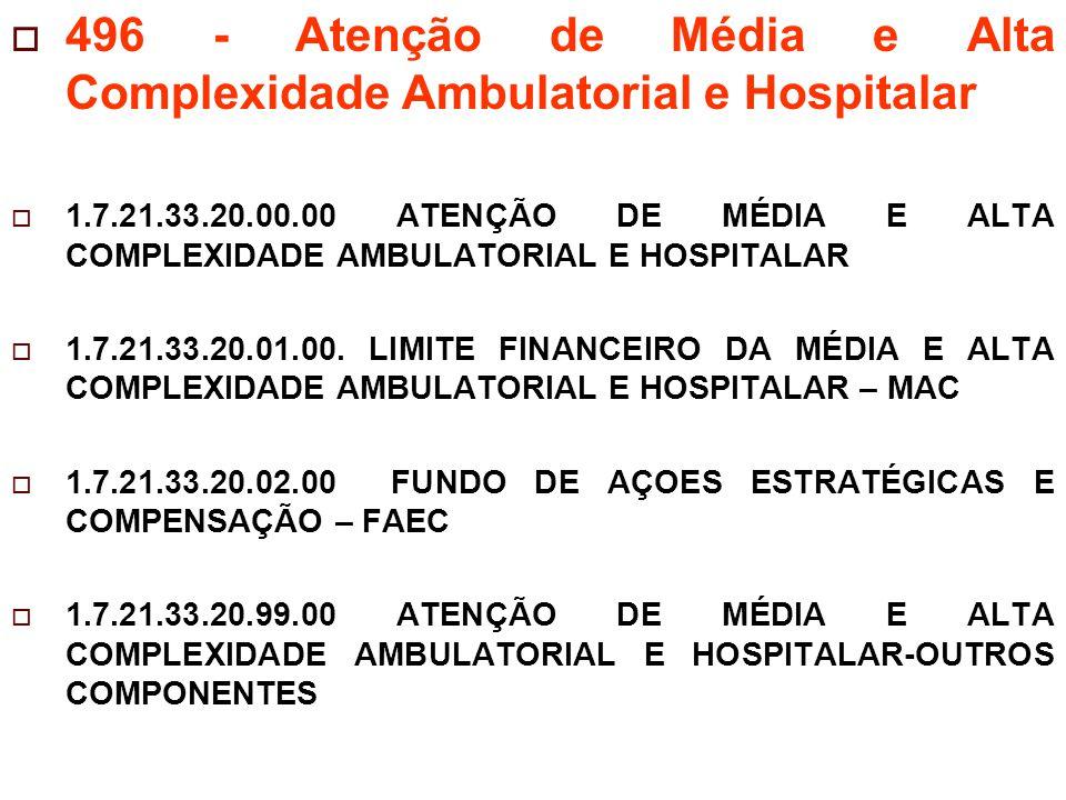  496 - Atenção de Média e Alta Complexidade Ambulatorial e Hospitalar  1.7.21.33.20.00.00 ATENÇÃO DE MÉDIA E ALTA COMPLEXIDADE AMBULATORIAL E HOSPITALAR  1.7.21.33.20.01.00.