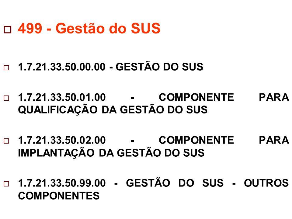  499 - Gestão do SUS  1.7.21.33.50.00.00 - GESTÃO DO SUS  1.7.21.33.50.01.00 - COMPONENTE PARA QUALIFICAÇÃO DA GESTÃO DO SUS  1.7.21.33.50.02.00 - COMPONENTE PARA IMPLANTAÇÃO DA GESTÃO DO SUS  1.7.21.33.50.99.00 - GESTÃO DO SUS - OUTROS COMPONENTES