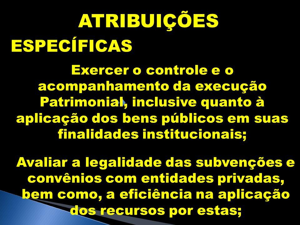ATRIBUIÇÕES ESPECÍFICAS Exercer o controle e o acompanhamento da execução Patrimonial, inclusive quanto à aplicação dos bens públicos em suas finalida