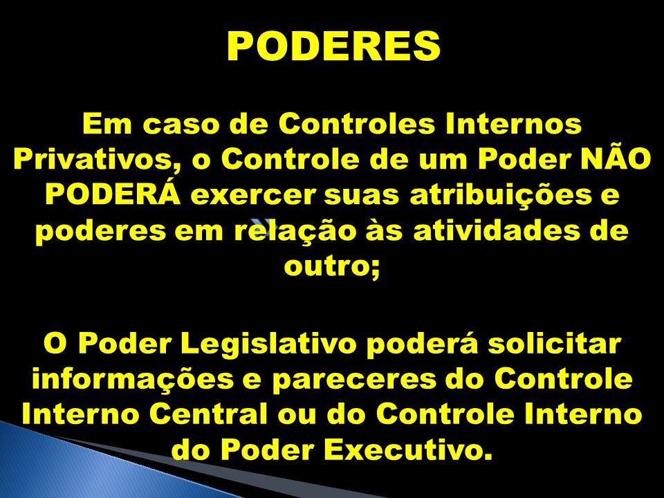 PODERES O Poder Legislativo poderá solicitar informações e pareceres do Controle Interno Central ou do Controle Interno do Poder Executivo. Em caso de